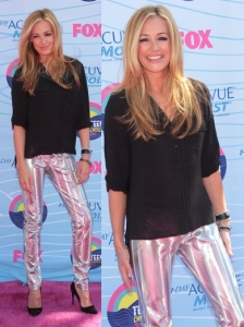 Cat Deeley in Metallic Pants and Black Top