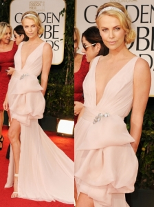 Charlize Theron in Dior at 2012 Golden Globes