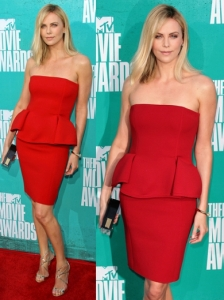 Charlize Theron in Lanvin Peplum Dress