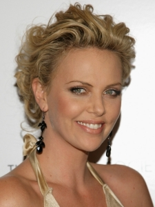 Charlize Theron with Curly Updo Hairstyle
