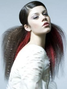 Long Black Hair with Red Highlights