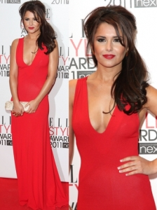 Cheryl Cole in McQueen V-Neck Red Gown