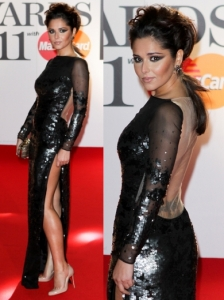 Cheryl Cole in Stella McCartney Sequined Sheer Gown