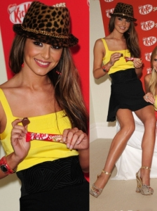 Cheryl Cole in Yellow Top and Black Skirt