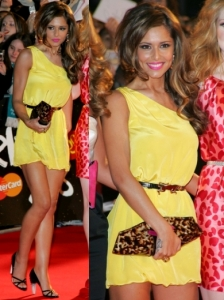 Cheryl Cole in Alice + Olivia Yellow Dress