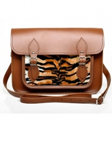 Chestnut Leather with Tiger Faux Fur Satchel