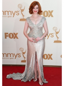 Christina Hendricks in Johanna Johnson Beaded Gown