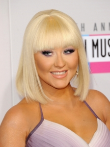 Christina Aguilera New Bob Haircut with Bangs