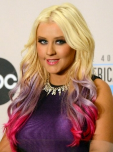 Christina Aguilera Dip Dyed Pink and Purple Hair Color