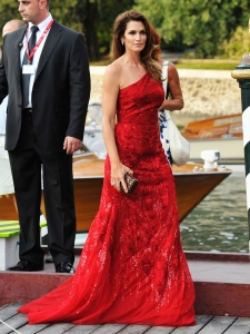 Cindy Crawford in Roberto Cavalli Red Gown