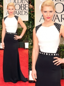 Claire Danes in J. Mendel at 2012 Golden Globes