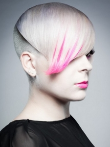 Short Blonde and Pink Haircut