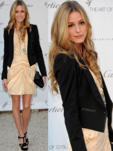 Olivia Palermo in Zac Posen Tan Mini Dress