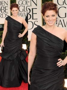 Debra Messing in Monique Lhuillier at 2012 Golden Globes
