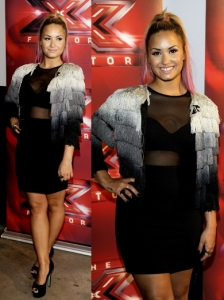 Demi Lovato in Topshop Mesh Dress and Fringe Jacket