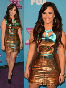 Demi Lovato in Topshop Two Tone Cut Out Dress