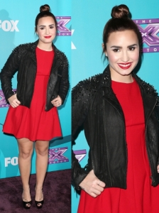 Demi Lovato in Topshop Red Shift Dress