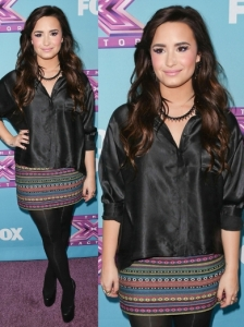 Demi Lovato in Topshop Shirt and Moroccan Blanket Skirt