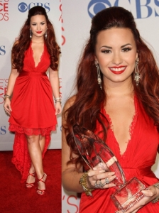 Demi Lovato in Issa Red Mullet Dress