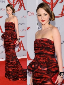 Devon Aoki in Alice + Olivia Ruffled Gown