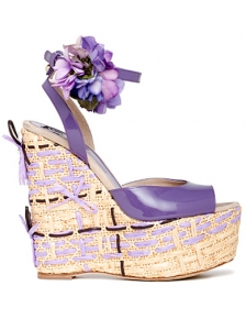 D&G Purple Wedge Sandals