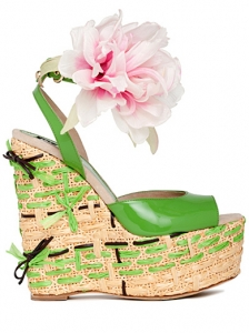 D&G Light Green Wedge Sandals