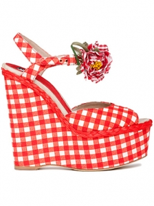 D&G Checkered Espadrille Wedges