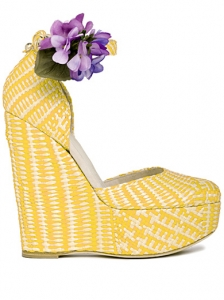 D&G Yellow Checkered Wedge Sandals