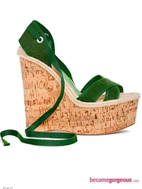 D&G Green Wedge Sandals