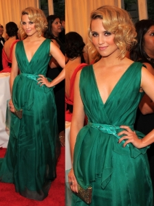Dianna Agron in Carolina Herrera Green Gown