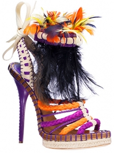 Christian Dior Colorful Feather Sandals
