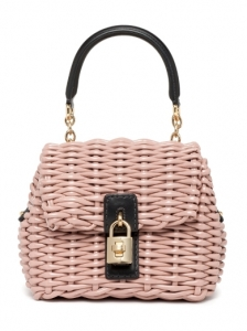 Dolce and Gabbana Small Pink Straw Bag