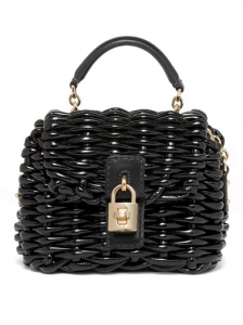 Dolce and Gabbana Small Black Straw Bag