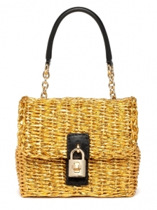 Dolce and Gabbana Medium Gold Straw Bag