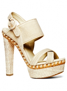 Donna Karan Beige Canvas Platform Sandals