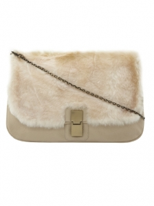 Cream Faux Fur Clutch Bag