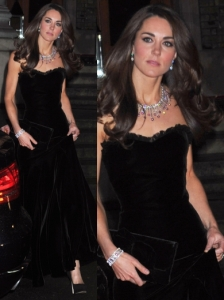 Duchess Kate in McQueen Black Velvet Gown