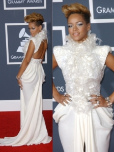 Rihanna in Elie Saab Couture White Gown