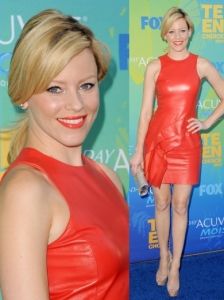 Elizabeth Banks in J Mendel Red Leather Dress