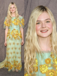 Elle Fanning in Rodarte Sunflower Gown
