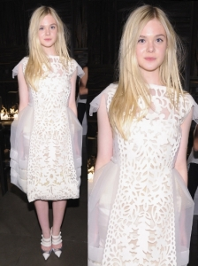 Elle Fanning in Louis Vuitton Cream Dress
