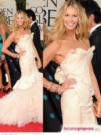 Elle McPherson in Zac Posen at 2012 Golden Globes
