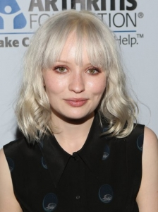 Emily Browning White Blonde Medium Hairstyle