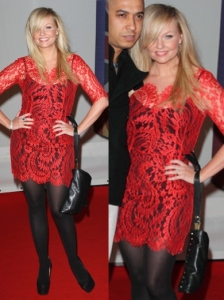 Emma Bunton in Lover Christina Red Lace Dress