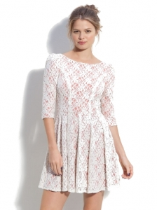 En Crème Layered Lace Full Skirt Dress