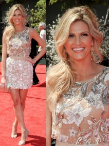 Erin Andrews in Naeem Khaan Floral Dress