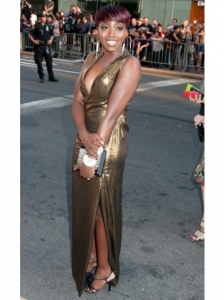 Estelle in Gold Lame Dress