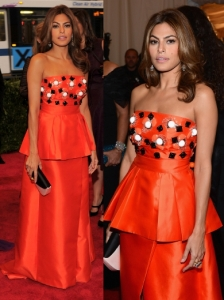 Eva Mendes in Prada Orange Gown