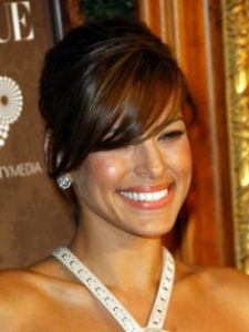 Eva Mendes Sleek Updo with Bangs