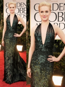 Evan Rachel Wood in Gucci at  2012 Golden Globes
